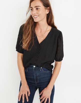 Madewell Textured Puff-Sleeve Button-Front Top