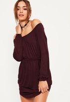 Missguided Burgundy Bardot Curve Hem Dress