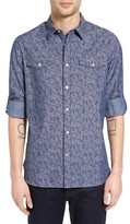 John Varvatos Men's Roll Sleeve Slim Fit Floral Chambray Shirt