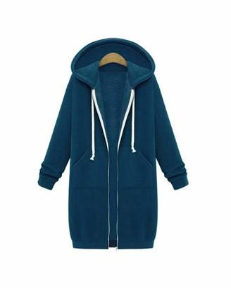 Guocu Women's Long Hoodies Casual Zip Up Cardigan Coat Ladies Long Sleeves Hooded Sweatshirt Warm Autumn Pullover Jumper Knee-Length Tops Plus Size Loose Jacket Outwear with Pockets Orange XL