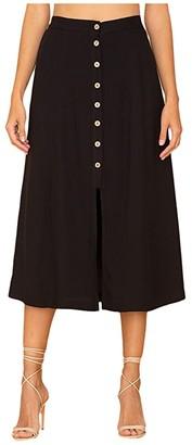 Miss Me Button-Down A-Line Skirt (Black) Women's Skirt