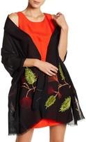 Saachi Embroidered Merino Wool Wrap