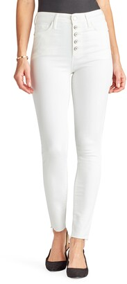 Sam Edelman The Stiletto High Waist Button Fly Raw Hem Ankle Skinny Jeans