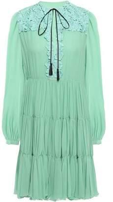 Giambattista Valli Lace-paneled Gathered Cotton-blend Georgette Mini Dress