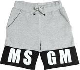 MSGM Logo Print Two Tone Cotton Sweat Shorts