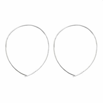 Jules Smith Designs Silver Hoop Earrings - Large Oval Hoop Earrings for Women - Sterling Silver Hoop Earrings - Classic Thin Wire Threader Earrings