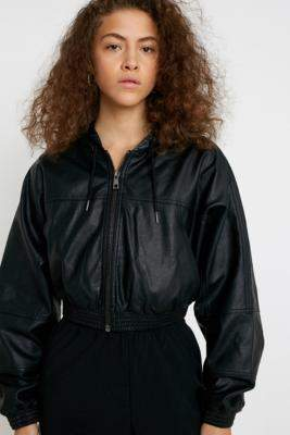 Urban Outfitters Faux Leather Hooded Crop Jacket - black XS at