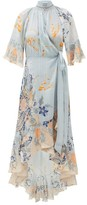 Camilla Blue Base High-neck Silk Wrap Dress - Womens - Blue Print
