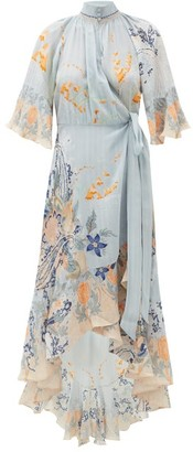Camilla Blue Base High-neck Silk Wrap Dress - Blue Print