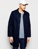 Weekday Island Trench Coat Longline with Collar in Dark Blue