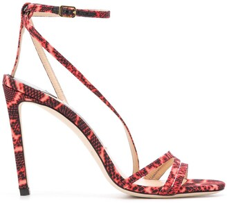 Jimmy Choo Tesca 100mm snakeskin print sandals