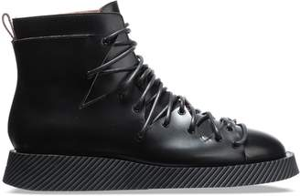 Jil Sander Lace-up Glossed-leather Ankle Boots