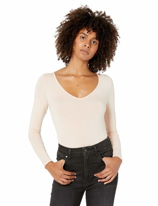 The Drop Women's Patricia Long-Sleeve Deep V-Neck Second Skin Bodysuit