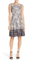 Ellen Tracy Women's 'Ivory Ground' Floral Print Pleated Twill Fit & Flare Dress