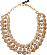 alisha.d Acrylic Square Link Necklace, Dark Beige