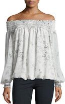 Max Studio Off-the-Shoulder Floral-Print Top, Off Whit/Gray