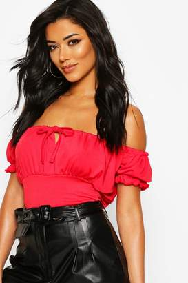 boohoo Shirred Jersey Peasant Top