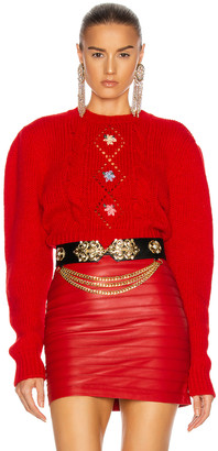 Alessandra Rich Wool Mini Sweater with Floral Details in Red | FWRD