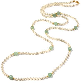 Ben-Amun Hippie Jade Bead & Pearly Long Necklace