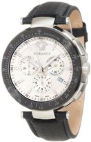 Versace Men's I8C99D001 S009 Mystique Stainless Steel Black Leather Chronograph Watch