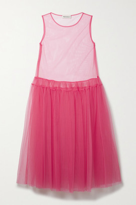 Molly Goddard Ally Tiered Tulle Midi Dress - Pink