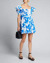 Caroline Constas Hana Smocked Flutter-Sleeve Dress