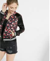 Express Color Block Floral Print Bomber Jacket