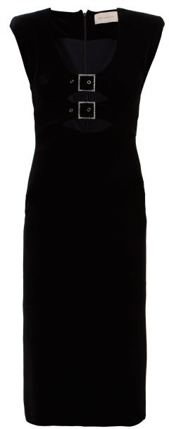 Christopher Kane Crystal Embellished Buckle Velvet Midi Dress - Womens - Black