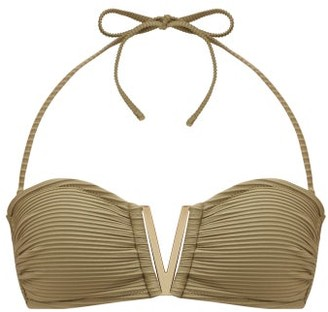Heidi Klein Venice V-bar Bandeau Bikini Top - Khaki