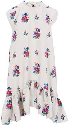 MSGM Floral Print Ruffle Dress