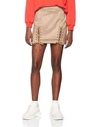 NEON COCO Women's Lace Up Faux Suede Pencil Skirt,Medium