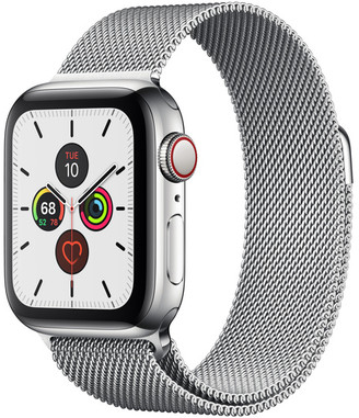 Apple Watch Series 5 GPS + Cellular, 40mm Stainless Steel Case with Milanese Loop