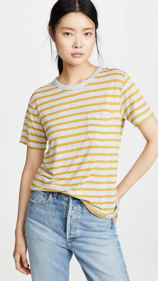 Alexander Wang Striped Slub Short Sleeve Tee