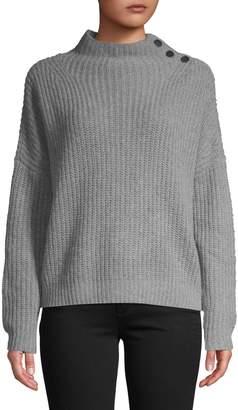 En Thread Mockneck Buttoned Sweater