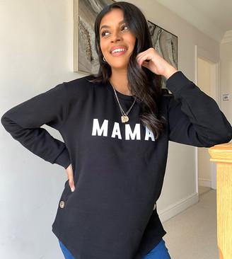 Asos Maternity   Nursing ASOS DESIGN Maternity nursing button side sweat with mama slogan in black