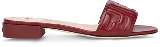 Fendi Embossed Logo Low Heel Slide Sandals