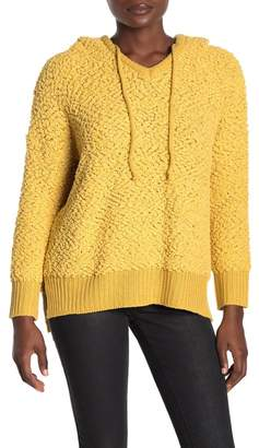 Woven Heart Popcorn Knit Hooded Pullover Sweater