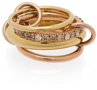 Spinelli Kilcollin 18kt rose gold Luna stacked diamond ring