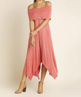 Blu Heaven Cinnamon Off-Shoulder Handkerchief Dress