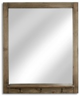 """Threshold Entryway Mirror with Hook, White Washed Wood 28""""x34"""