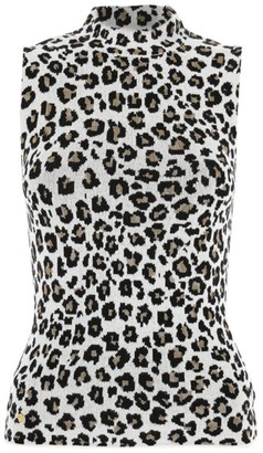 Versace Sleeveless Leopard-Print Knit Turtleneck