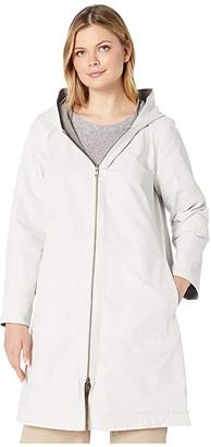 Eileen Fisher Organic Cotton Nylon Outerwear Hooded Jacket (Bone) Women's Clothing