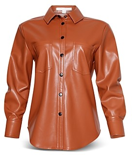 Jonathan Simkhai Standard Vegan Leather Pleated Sleeve Shirt