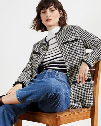 Ted Baker Boucle Houndstooth Cardigan With Zip