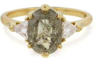 Anna Sheffield Grey Diamond Bea Oval Ring - Yellow Gold
