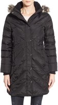 London Fog Petite Women's Down & Feather Fill Coat With Faux Fur Trim