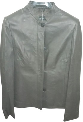 Krizia Green Leather Leather Jacket for Women Vintage