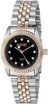 August Steiner Women's AS8046TTR Diamond Accented Black Dial Silver & Rose Gold Bracelet Watch