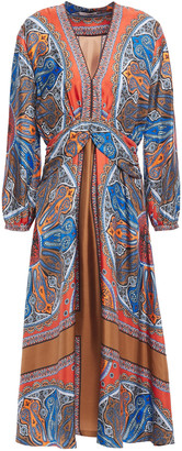 Sandro Yanis Gathered Printed Silk-twill Midi Dress