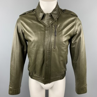 Kris Van Assche Green Leather Jackets